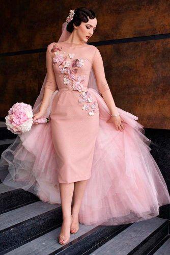1950S Vintage Flower Waist Pink Wedding Dress Dots Bridal Gowns Removable Train