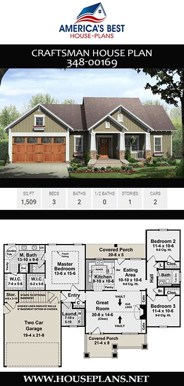 House Plan 348 00169 Craftsman Plan 1 509 Square Feet 3 Bedrooms 2 Bathrooms Craftsman House Plans House Layout Plans House Plans