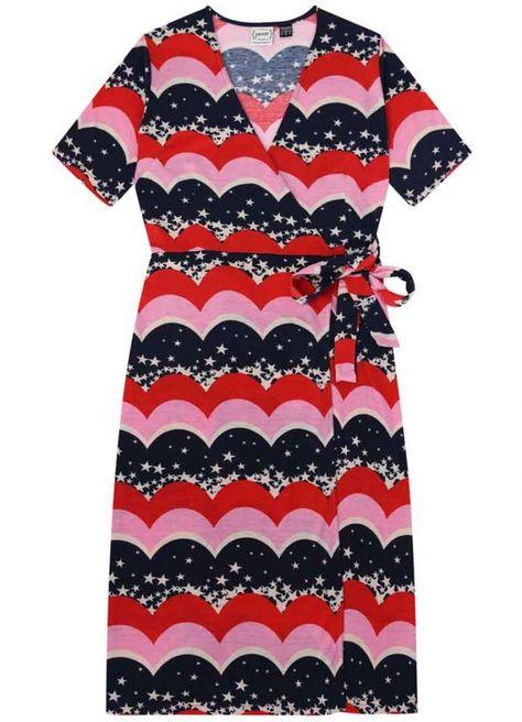 09ffd20b10698 Dent Star & Scallop Stripe Print Wrap Dress in 2019 | Ice cream ...