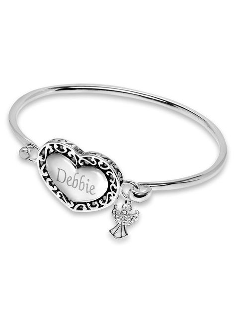 Ladies' Heart and Angel Bracelet at http://www.AmeriMark.com. An engravable filigree heart and an adorable angel with a delicate cubic zirconia face adorn an antique silvertone bracelet. #personalizedjewelry #personalisedjewelry #heartjewelry #bracelet #amerimark
