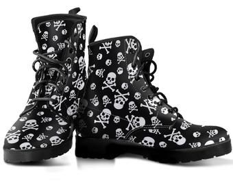 Black White Skulls Vegan Leather Leather Boots Women Etsy In 2020 Leather Boots Women Leather Boots Unique Boots