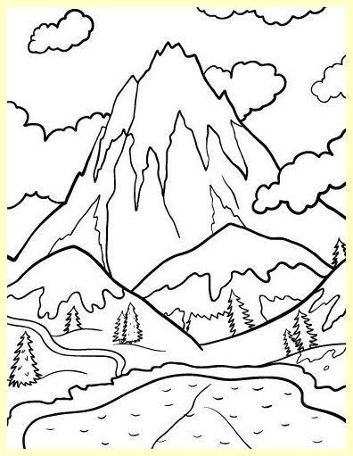 Pagina Para Colorear De Montanas Nevadas Schnee Mit Einer Kappe Bedeckte Berge Die Sei Dibujos Para Colorear Paisajes Paisaje Para Colorear Paisajes Dibujos
