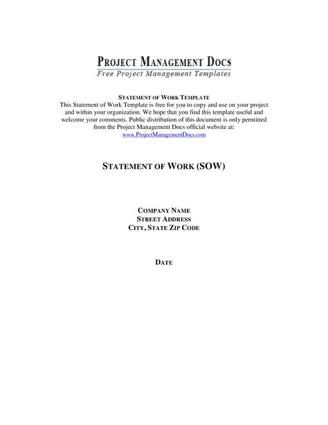 Statement Of Work Template - Statement of Work (SOW) Template - statement of work template