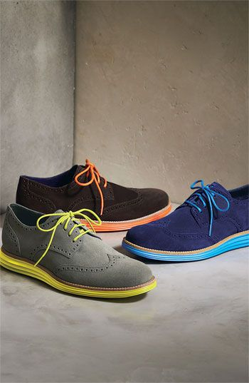 Cole Haan 'LunarGrand' Wingtip (Men) The blue suede or the brown and orange