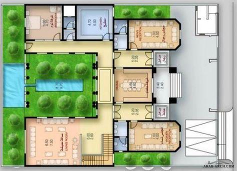 مخطط الفيلا العائلية الكبيرة من مشروع عالية طيبة Square House Plans My House Plans House Plans Mansion