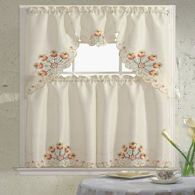 Daniels Bath Embroidered 60 Valance And Tier Set Color Jackie