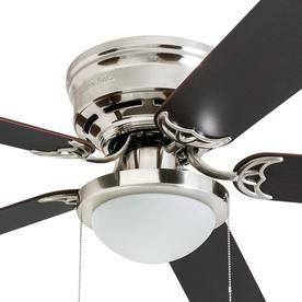 Shop Harbor Breeze Armitage 52 In Brushed Nickel Indoor Flush Mount Ceiling Fan With Light Kit At Lowes Com Ceiling Fan With Light Ceiling Fan