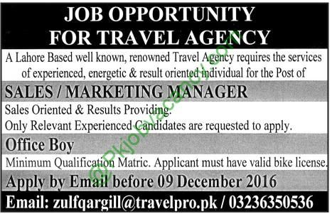 Islamabad Travel Agency Jobs For Sales  Accounting Staff Th