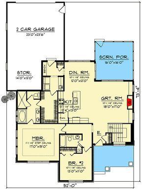 Plan 890078ah Two Bedroom Modern Craftsman House Plan With Rear Entry Garage Garage House Plans Dream House Plans Craftsman House Plans