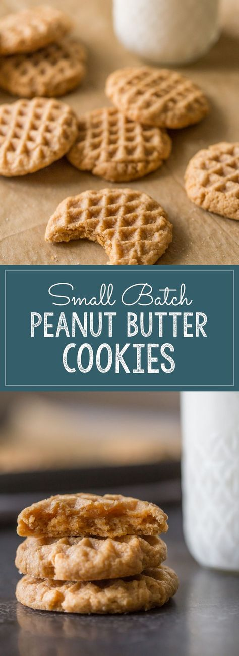 Soft, chewy and delicious, and made with only FOUR ingredients! #smallbatchcookies #peanutbuttercookies #peanutbutter #fouringredients #cookies #dessert #snacks