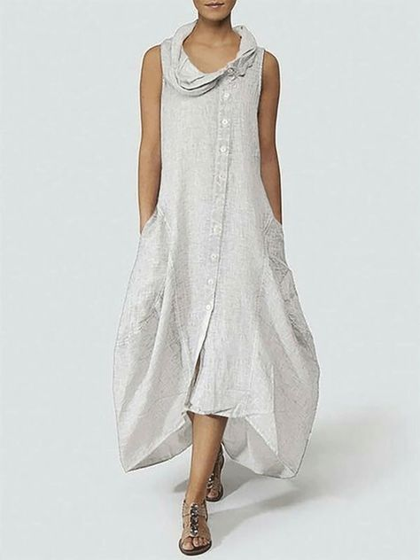 fd1017414edbb Cowl Neck Women Daily Sleeveless Basic Solid Summer Dress