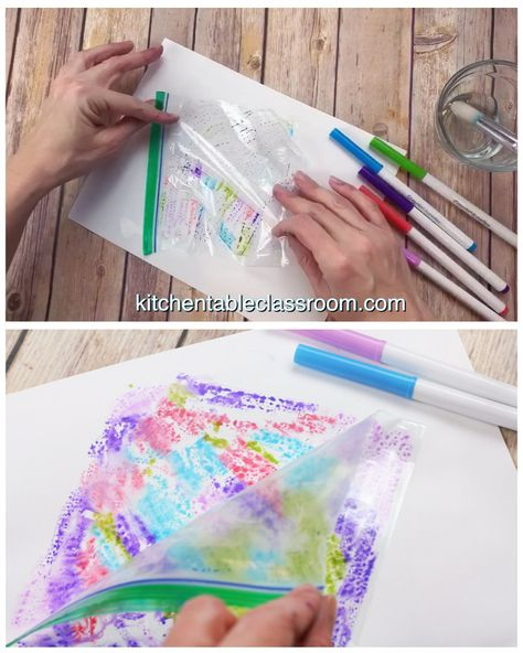 Use washable markers and a recycled plastic bag for this simple abstract watercolor painting process for kids.
