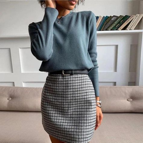 Mittyo Classic Blue Top Plaid Skirt Two-Piece Dress - Winter style -