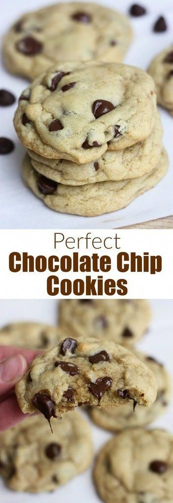 ThePerfect Chocolate Chip Cookies have a little crisp to their outer shell but are soft on the inside, and extra chewy. They're easy to make (you don't even need a mixer!), no chilling the dough, and they stay soft for days. This is the perfect chocolate chip cookies recipe you've been searching for! #cookies #chocolatechip #best #easy #chewy #recipe #howtomake #besthomemadecookies