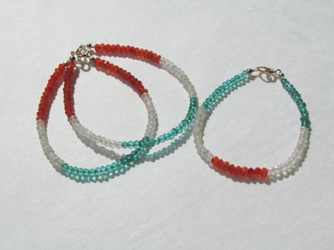 Irish Flag Gemstone Minimalist Layering Bracelets by bellarose0417, $25.00