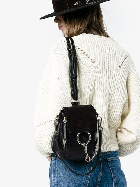 Shop online Chloé black Faye mini leather backpack for Discover new season items from the world's best luxury designer brands.