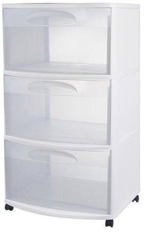 Sterilite 3 Drawer Large Storage Cart White Sterilite