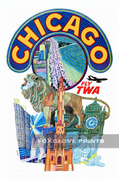 """TWA Airline 8.5/"""" X 11/""""  Travel Poster THE GREAT SOUTHWEST"""