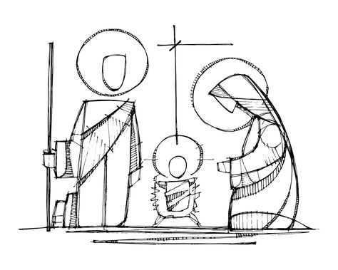 Jesus, Virgin Mary and Saint Joseph at Nativity