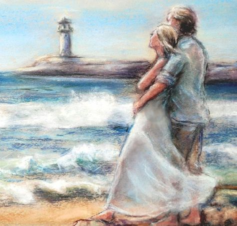 """Beach art Flat archival canvas print of original, """"I Would Rather Be Here"""" Romantic couple - Laurie"""