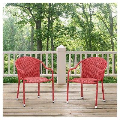 Superb Crosley Palm Harbor Outdoor Wicker Stackable Chairs Set Of 2 Creativecarmelina Interior Chair Design Creativecarmelinacom