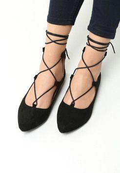 Czarne Balerinki Gabriel Lace Up Flat Lace Up Shoes