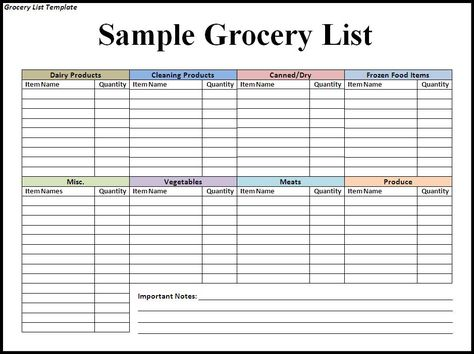 Grocery List Template NOTE Before Downloading or Using any - grocery list sample