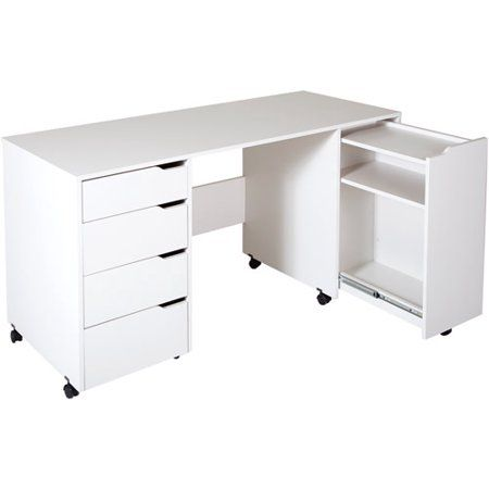 South Shore Crea Sewing Craft Table On Wheels White Walmart Com Craft Tables With Storage Sewing Craft Table Sewing Desk
