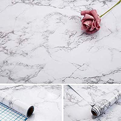 Marble Contact Paper 17x100 Inch Self Adhesive Waterproof Gloss Pvc Vinyl Oil Proof Marble White Gray Granite Pape With Images Marble Vinyl Granite Wallpaper Vinyl Paper