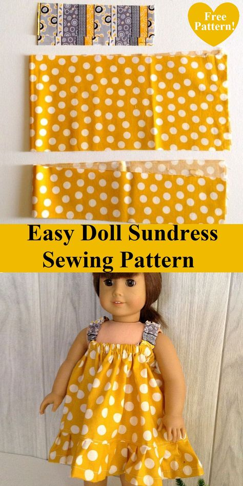 This is an easy sundress sewing pattern for your little girl's 18 Inch American doll. This pattern can be whipped up in less than an hour. American Girl Outfits, Ropa American Girl, American Doll Clothes, Doll Dress Patterns, Doll Sewing Patterns, Free Doll Clothes Patterns, Half Apron Patterns, Sundress Pattern, Pattern Sewing