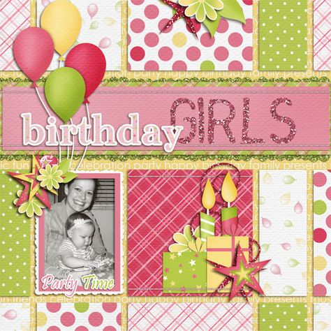 """Sweet Pink & Lime Green """"Birthday Girl"""" Scrapbooking Layout...Bethany: gotta pixel."""