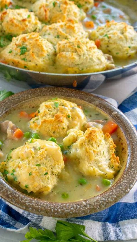Chicken and Drop Biscuits that comes together quickly and will satisfy everyone's appetite. It reminds me of being at grandma's house for Sunday dinner but you can easily make it for a weekday meal. #chickenanddropbiscuits #chickencasserole #chickenmaindish