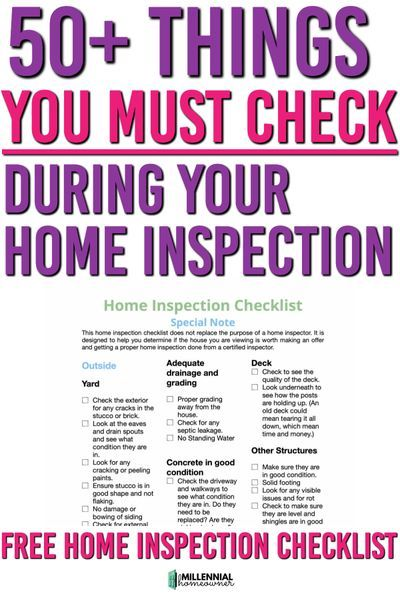 Free Home Inspection Checklist Printable For Buyers Inspection Checklist Home Inspection Buying First Home