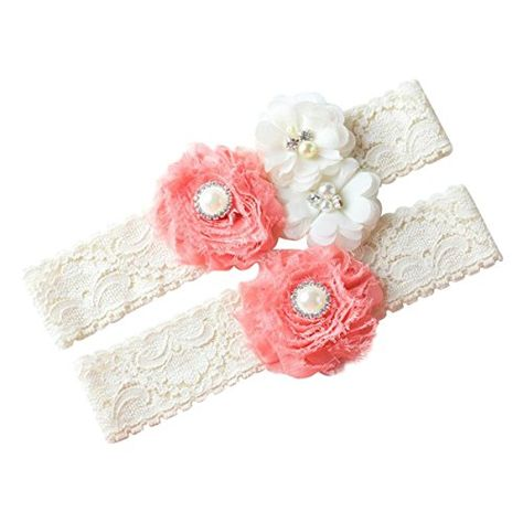 1 Pair YunKo Garter Belt Set with Bowknot Ivory Lace Vintage White Ribbon Flower Prom Wedding