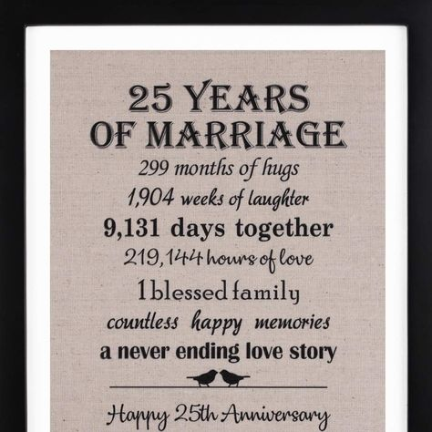 Amazon.com: 25th Anniversary Gifts Burlap Print with Frame