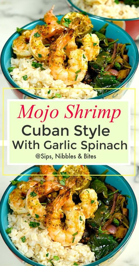 my Mojo Shrimp are tender and juicy, every bite having a complex flavor of herbs, citrus, and spices. Paired with my Garlic Spinach and Mushrooms recipe and a side of Basmati rice, it's a delicious and easy meal. #grilled #bbq #mojosauce #cubanmojo #chicken #pork #seafood #shrimp #marinade #simplehealthymeal #bbqmarinade #easyrecipe #mojoshrimp