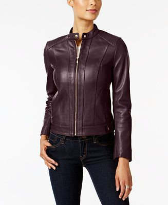 Cole Haan Seamed Leather Jacket Reviews Coats Women Macy S Leather Jacket Coats For Women Leather Moto Jacket