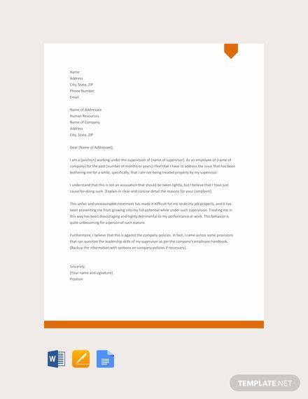 Free Complaint Letter Against Supervisor Lettering Templates Words