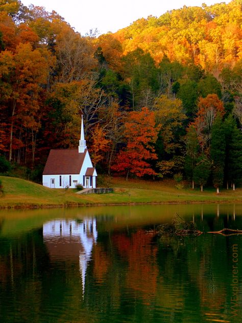 The little Church of God chapel near Romance, West Virginia in Jackson County, seemed perfectly suited to the autumn backdrop ~ Photo by. Old Country Churches, Old Churches, Abandoned Churches, Country Roads, Church Pictures, Fall Pictures, Beautiful World, Beautiful Places, Beautiful Pictures