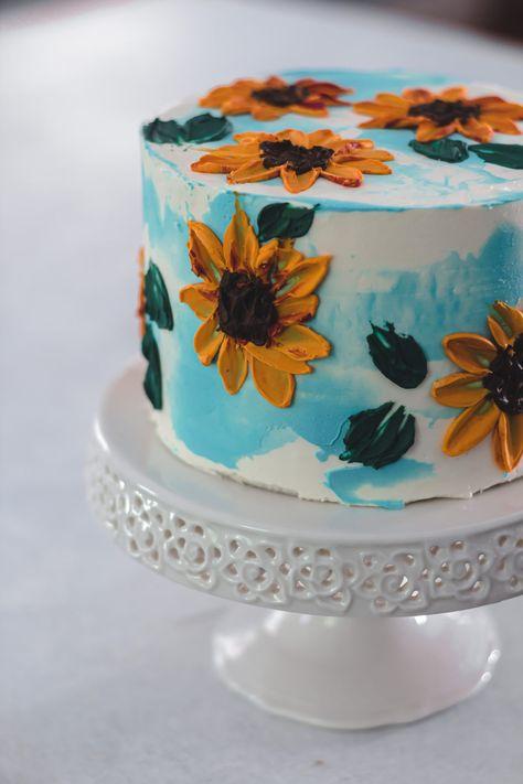 Savory magic cake with roasted peppers and tandoori - Clean Eating Snacks Sunflower Birthday Cakes, Pretty Birthday Cakes, Sunflower Cakes, Pretty Cakes, Cute Cakes, Beautiful Cakes, Amazing Cakes, Cake Birthday, Birthday Ideas