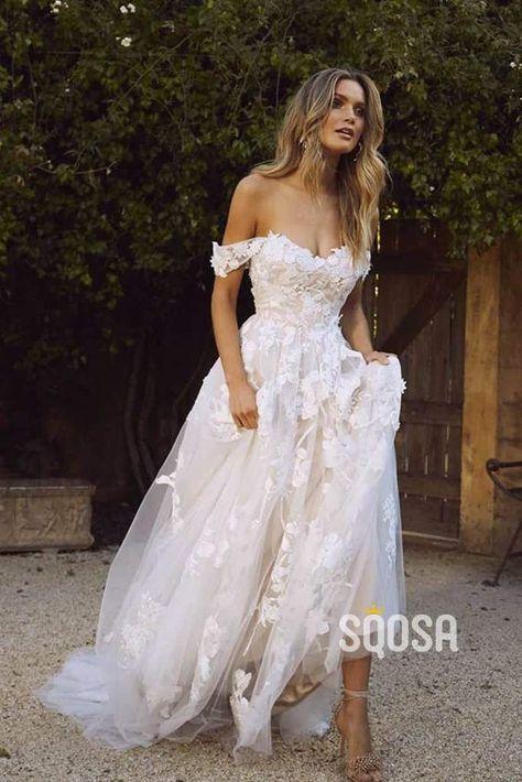 Off-the-Shoulder Modest Tulle Appliques A-Line Rustic Wedding Dress Bridal Gowns QW0906#aline #appliques #bridal #dress #gowns #modest #offtheshoulder #qw0906 #rustic #shoulder #tulle #wedding