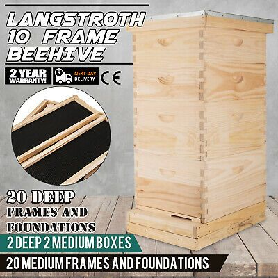 Sponsored Ebay Langstroth Bee Hive 10 Frame 2 Deep 2 Medium Includes All Frames In 2020 10 Frame Bee Hive Framed Bee