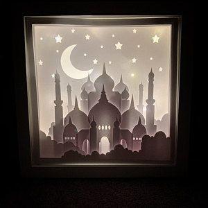 Ramadan Paper Art Light Shadow Box 3d Papercut Light Box 3d Ramadan Lantern In 2021 Ramadan Kareem Decoration Shadow Box Ramadan Decorations