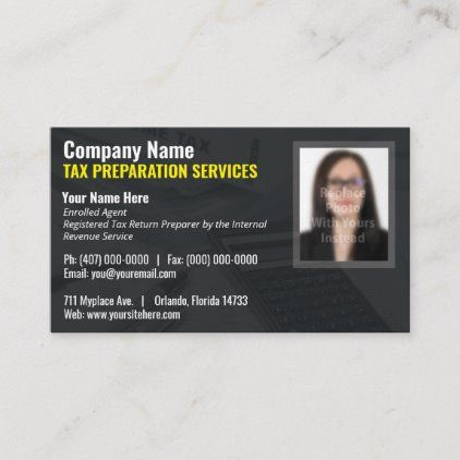 Tax Preparing Preparer Photo Business Card Zazzle Com Photo Business Cards Business Card Appointment Appointment Cards