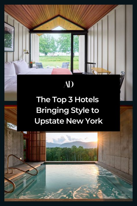 On the west side of the Hudson River, these chic new hotels are turning heads including the Hutton Brickyards in Kingston, NY. Perched right on the bank of the Hudson, a former brick factory has been transformed into a sprawling oasis that is beckoning wedding parties and weekenders alike. Thirty-one light-filled cabins are cozy anecdotes to three expansive event spaces and chef Dan Silverman's River Pavilion restaurant. Read on for more chic Upstate New York stays. #travel #upstate #country