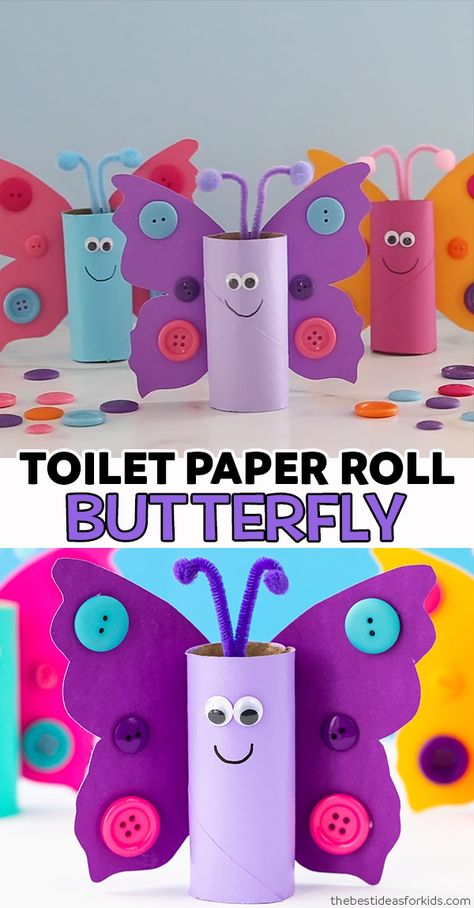 TOILET PAPER ROLL BUTTERFLY 🦋 - such a cute butterfly craft for kids! Kids will love making these out of toilet paper rolls or paper rolls as a recycled craft. Preschool and kindergarten classes can make these to learn about the butterfly lifecycle even!