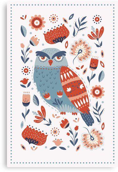 Folk Art Owl Illustration Folk Art Flowers Modern Folk Art Scandinavian Folk Art