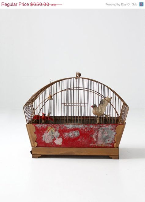 SALE FREE SHIP antique bird cage / hand painted by 86home on Etsy, $585.00