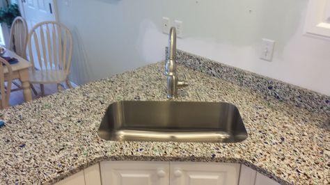 Top Zero Sink Set In Vetrazzo With A Waterloo Gooseneck Faucet