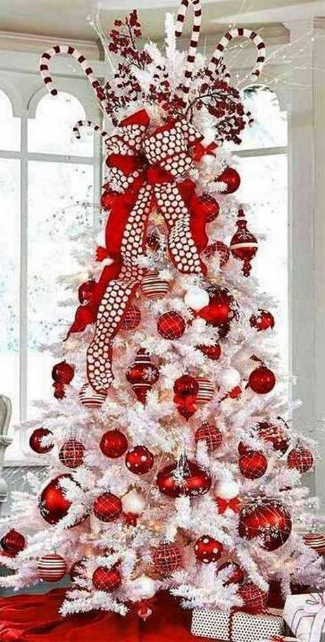 Here are the Red And White Christmas Tree Decoration Ideas. This article about Red And White Christmas Tree Decoration Ideas … Christmas Tree Top Decorations, Types Of Christmas Trees, Candy Cane Christmas Tree, Flocked Christmas Trees, Beautiful Christmas Trees, Red Christmas, Simple Christmas, White Christmas Tree With Red, Holiday Decor
